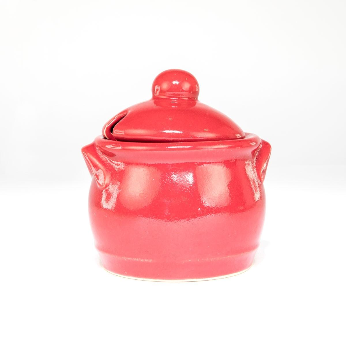 Steinguttopf für Ketchup - handgefertigt